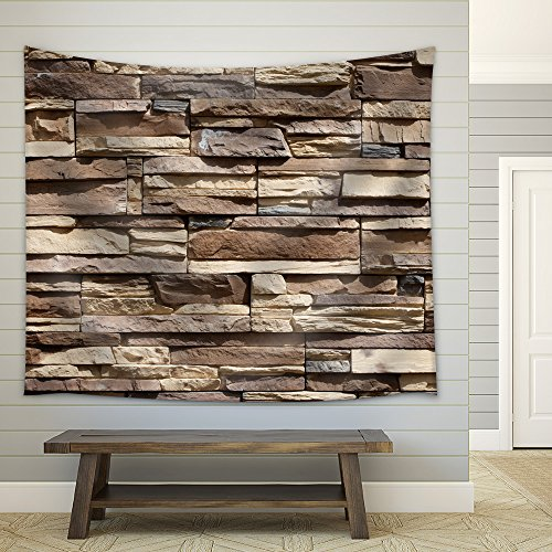 Fabric Tapestry Neutral Colored Brick Pattern Wall Hanging
