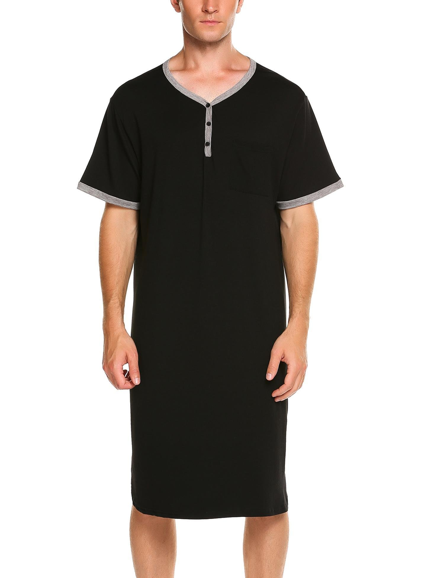 Skylin Plus Size Men's Cotton Knit Nightshirt Sleep Shirt Comfort Sleepwear Loungewear (Black, XL)