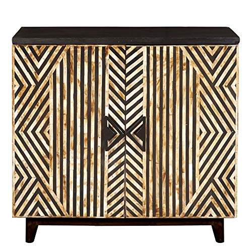 Rustic Striped Bone Inlay Accent Chest in Cream and Black by Pulaski