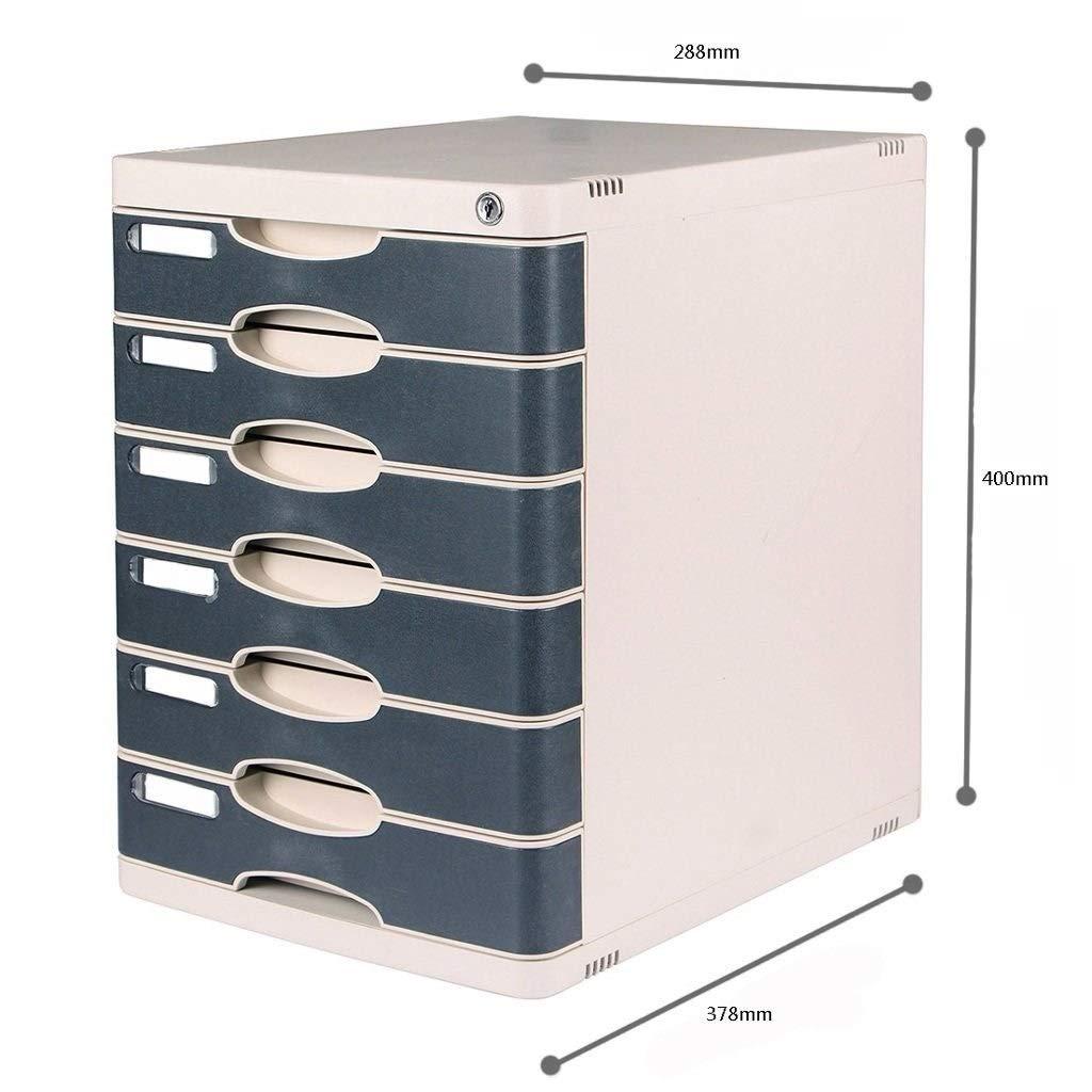 Flat File Cabinet Locked Desktop 6-Layers Plastic Drawer Office Storage Box Storage File Cabinet