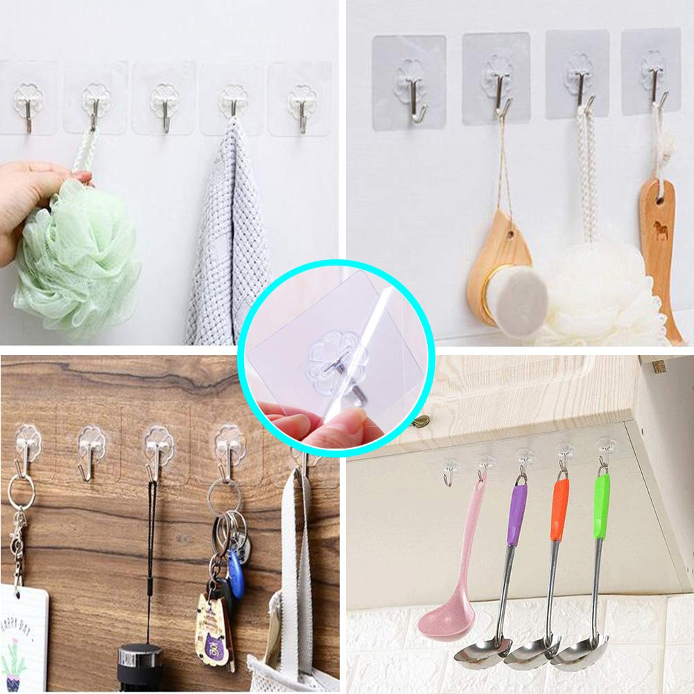 No Drill Need with 5 Pack Transparent Hooks Shower Head Holder Better than Suction Cups Strong Adhesive Handheld Shower Head Hooks Adjustable Wall Mount Bracket with 2 Hanger Hooks