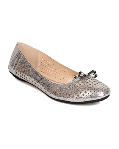 FI21 Women Metallic Leatherette Perforated Bow Tie Ballet Flat - Silver
