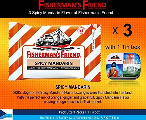 Asthma Cough Suppressant (Fisherman's Friend Lozenges Spicy Mandarin Flavor Not Found in Fisherman's Friend U.S. (3 Flavors of Pack with 1 Mini Tin Boxes) Good Taste with Effective for Extra Strong Cough Suppressant Lozenges and Tin Box Collectibles Set)