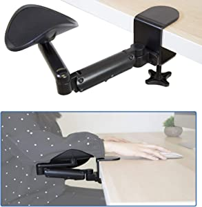 Mount-It! Adjustable Arm Rest for Desk | Ergonomic Computer Desk Arm | Height Adjustable, Full Motion Elbow Support with Clamp-On Base | Steel Construction (MI-7145)
