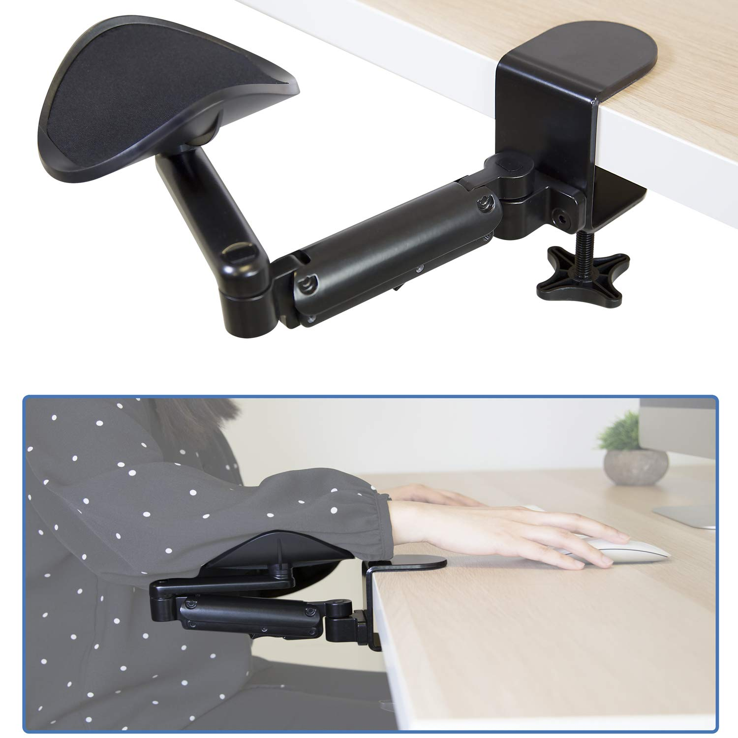 Mount-It! Adjustable Arm Rest for Desk   Ergonomic Computer Desk Arm   Height Adjustable, Full Motion Elbow Support with Clamp-On Base   Steel Construction (MI-7145) by Mount-It!