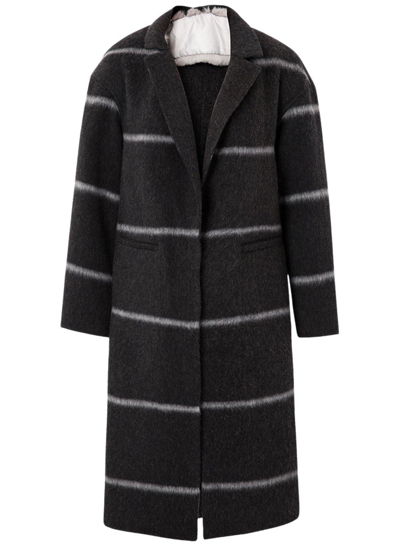 ME&CITY Women's Color Block Striped Shawl Woolen Coat