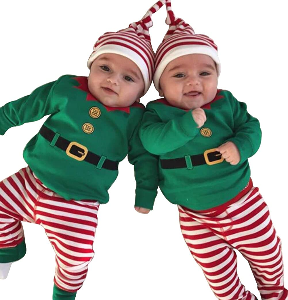Toddler Baby Boys Girls Xmas Outfits Cartoon Romper+Stripe Pants+Hat 3Pcs Set