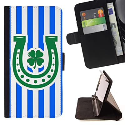 FJCases Patrón de Líneas Herradura Trébol Suerte (Azul Real) Carcasa Funda Billetera con Ranuras para Tarjetas y Soporte Plegable para Motorola Moto X4
