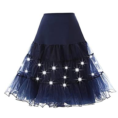ad1a479b851 EESIM Women s Petticoat Skirts Crinoline Tutu Underskirt Party Dance  Petticoat with LED Light up Neon Plus