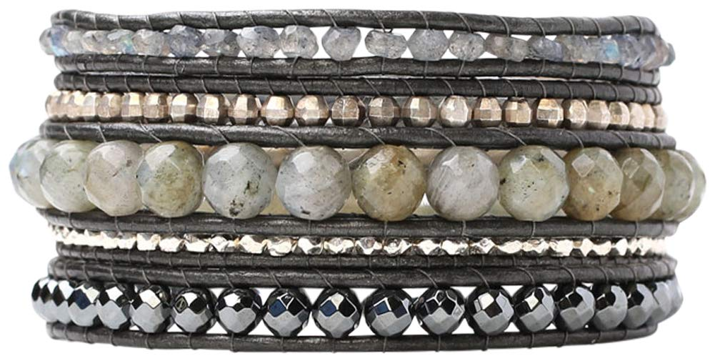 Chan Luu Labradorite Mix Semi Precious Stones on Gunmetal Leather Wrap Bracelet