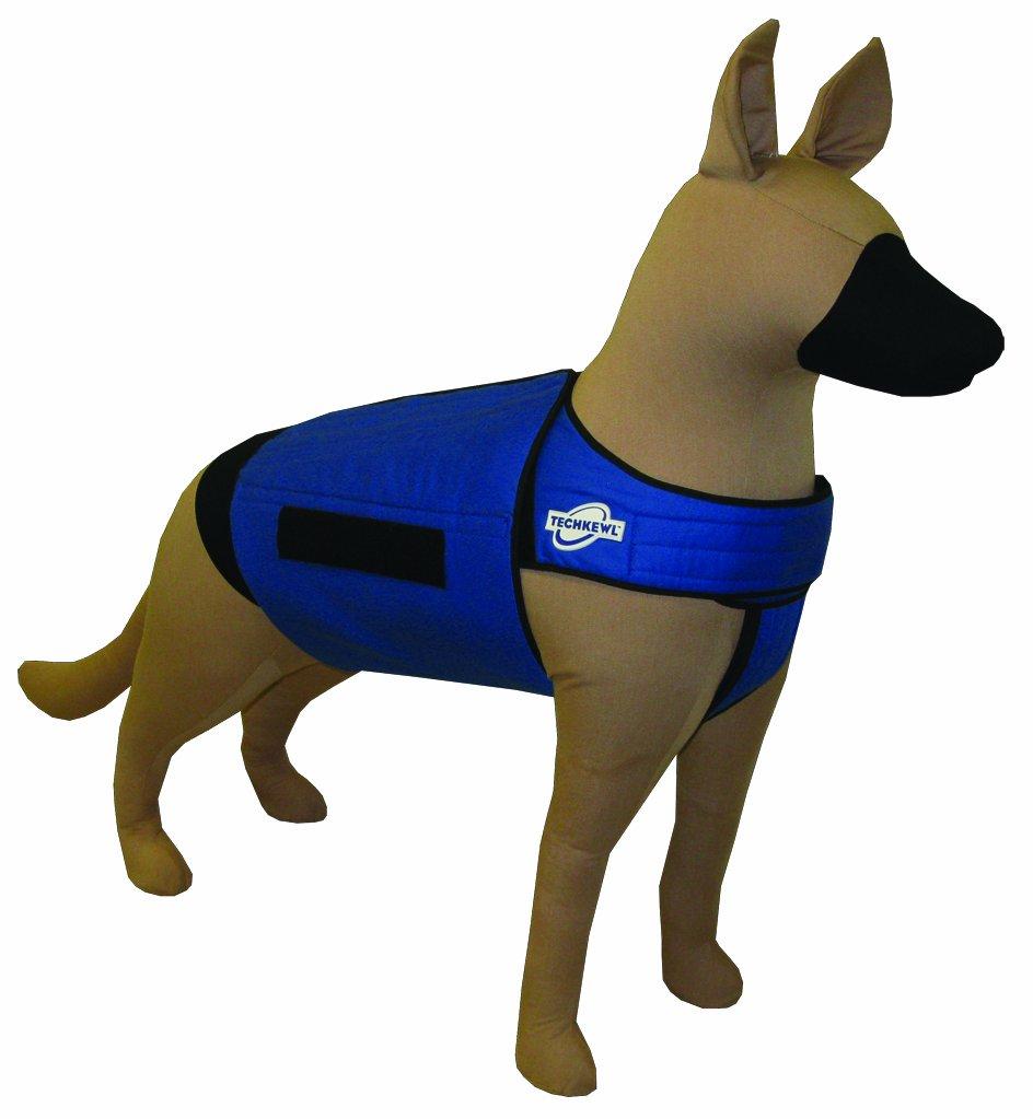 TechKewl Phase Change Cooling Dog Coat, Medium/Large, Blue