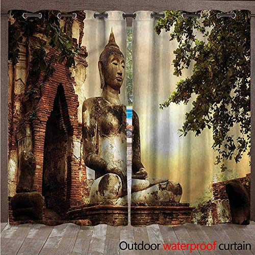 Dining Sandstone Sunbrella - cobeDecor Sculptures Outdoor Curtain for Patio Sandstone Figure Asia W72 x L96(183cm x 245cm)