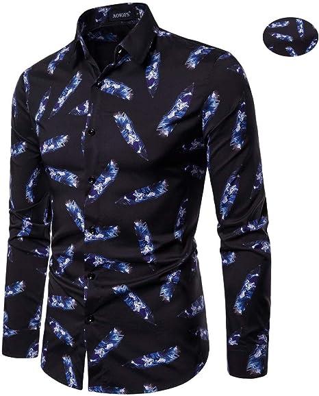 X&Armanis Camisa Fina de otoño para Hombre, Camisa de Fiesta con Estampado de Solapa Camisa Informal de Joker (poliéster),L: Amazon.es: Deportes y aire libre
