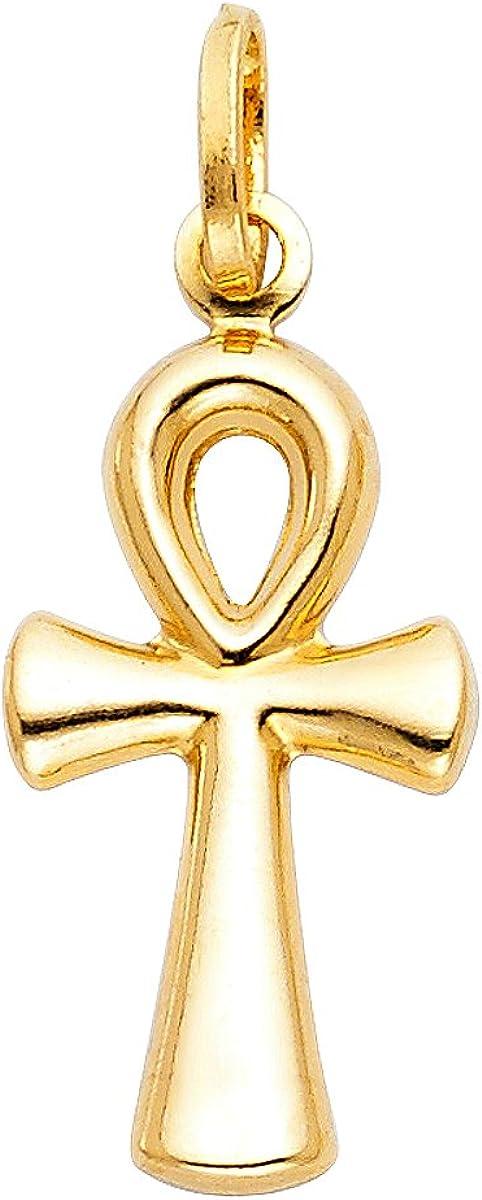 14K Yellow Gold Ankh Cross Pendant Charm