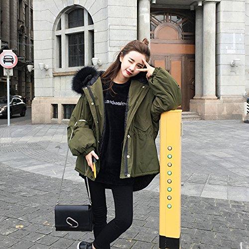 Xuanku Winter Dickes Haar Kragen Kragen Lange Größe Mit Kapuze Baumwolle Lose Jacke