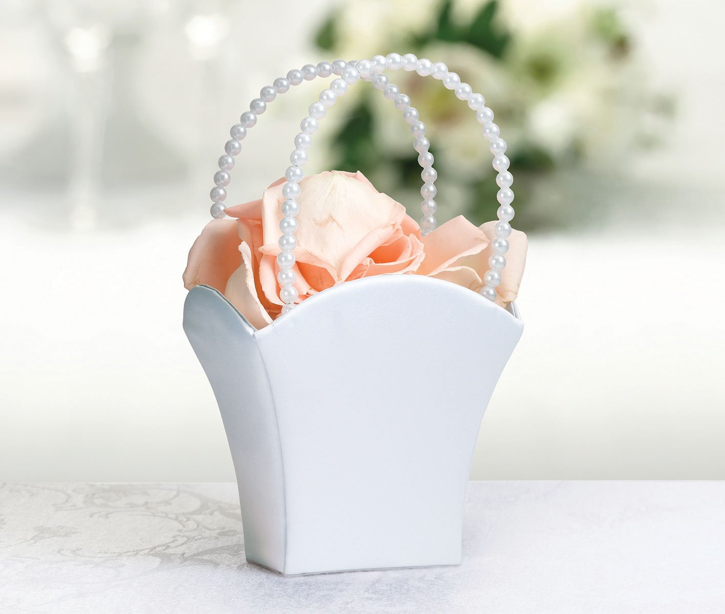 Amazon White Flower Basket Flower Girl Basket Home Kitchen