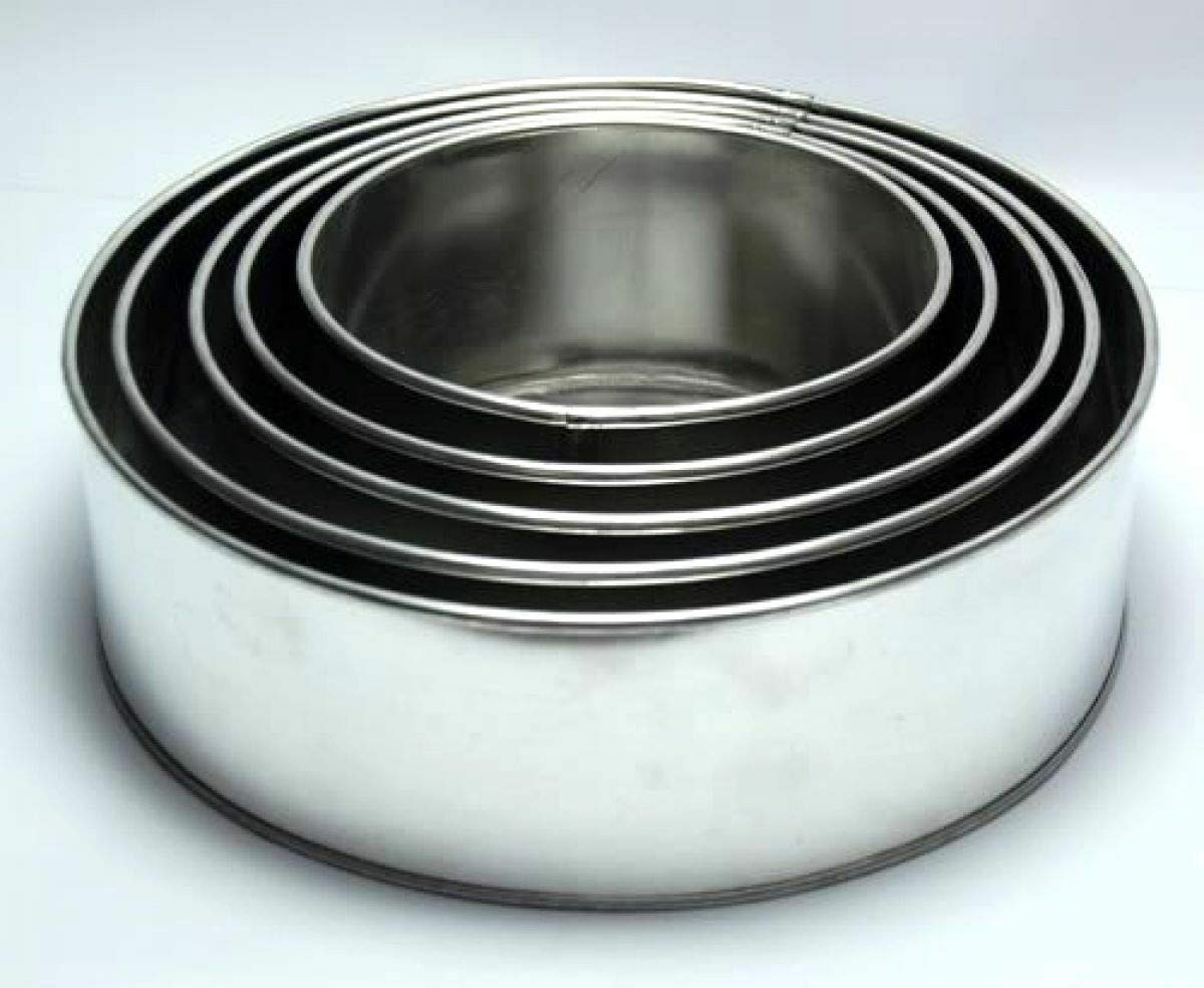 Set of 5 Tier Round Multilayer Birthday/Wedding Anniversary Cake Tins/Cake Pans/Cake Moulds 6''.7''.8''.9''.10'' - all 3'' Deep by AmeriTins (Image #1)