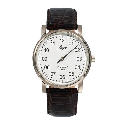 Reloj de pulsera mecánico de LUCH, con una sola manecillaEsfera blanca.Nitruro de circonio.337477760 RUS.: Amazon.es: Relojes