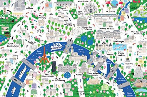 Pyramid America Paris Map by Jamie Malone Art Print Poster 24x36 inch