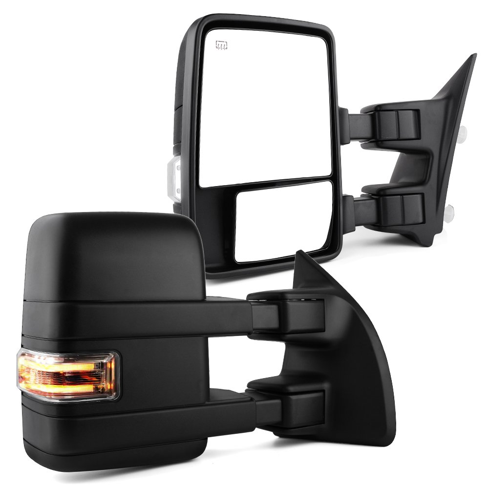 Towing Mirrors For Ford F250 F350 F450 Excursion Truck Heated Manual Telescoping Folding with LED Signal Light Clearance Light Tow Mirrors, for 2003 2004 2005 2007 Ford F250 F350 F450 F550 Super Duty, YITAMOTOR