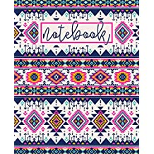 """Notebook: Portable Format 7.5""""x9.25"""" (19x23cm) Notebook Journal & Diary: Pretty Pink, Yellow & Blue Aztec Pattern"""