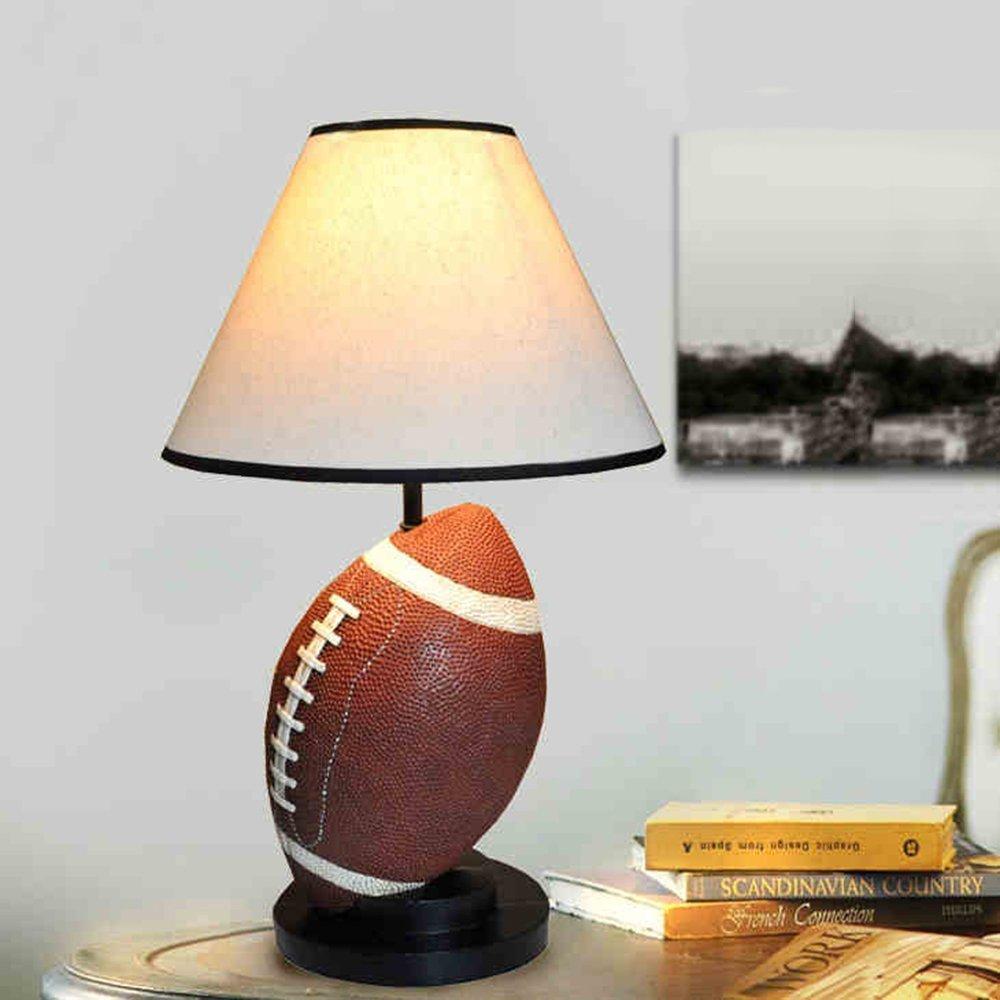 GBT Kreative Europäische Harz-Fußball-Tischlampe Wohnzimmer Schlafzimmer Nachttischlampen, 2 Schalter wählbar,Knopfschalter