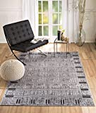 """NEW CHATEAU S3 GREY BLACK MODERN ABSTRACT BORDER STYLE AREA RUG (8X11 ACTUAL 7'4""""X10′.6"""")"""
