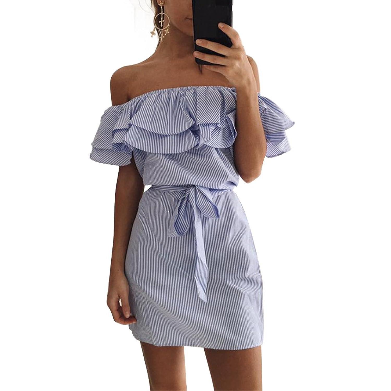 Damen Streifen Muster Minikleid Wort Schulter Volant PartyKleid mit ...