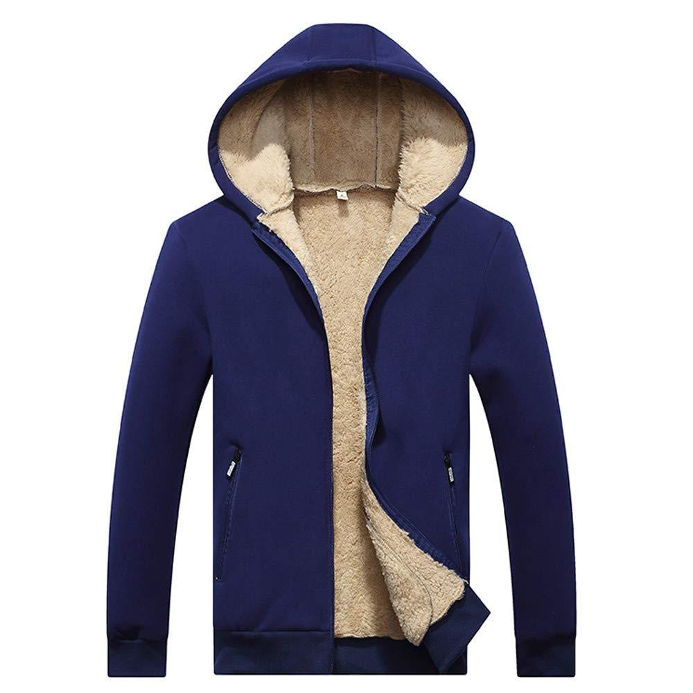Sherostore ♡ Men's Casual Winter Warm Lined Zip Up Hooded Sweatshirt Jacket Coat Long Sleeve Outwear Blue