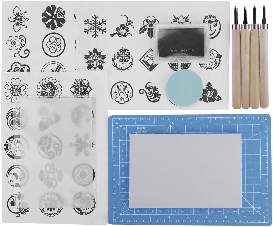 Bloque de talla de sello de goma con cuchillo de talla, kit de talla de sello de goma, personalizar para álbum de recortes, postales, tarjetas de invitación, proyecto de bricolaje