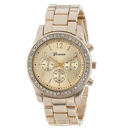 Vovotrade clásico de lujo mujer damas chica unisex reloj de pulsera de cuarzo de acero inoxidable