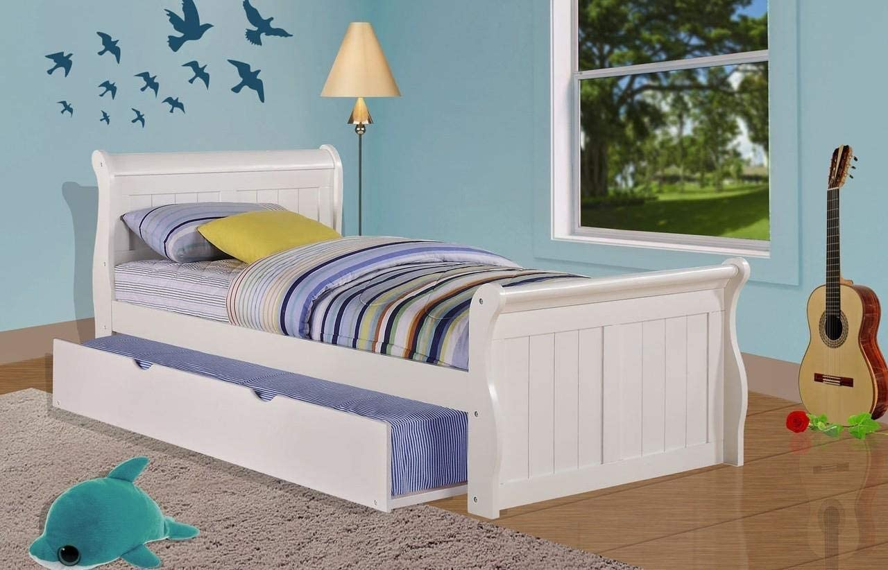 Donco Kids Sleigh withTrundle Bed, Twin Twin, White