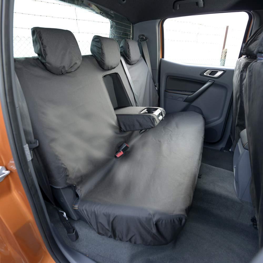UK Ma/ßgefertigt Bez/üge SC304B-305BEM-EM Ma/ßgeschneidert Schwerlast Wasserdicht Vorne /& Hinten Seat Bez/üge inklusive Stickerei Schwarz