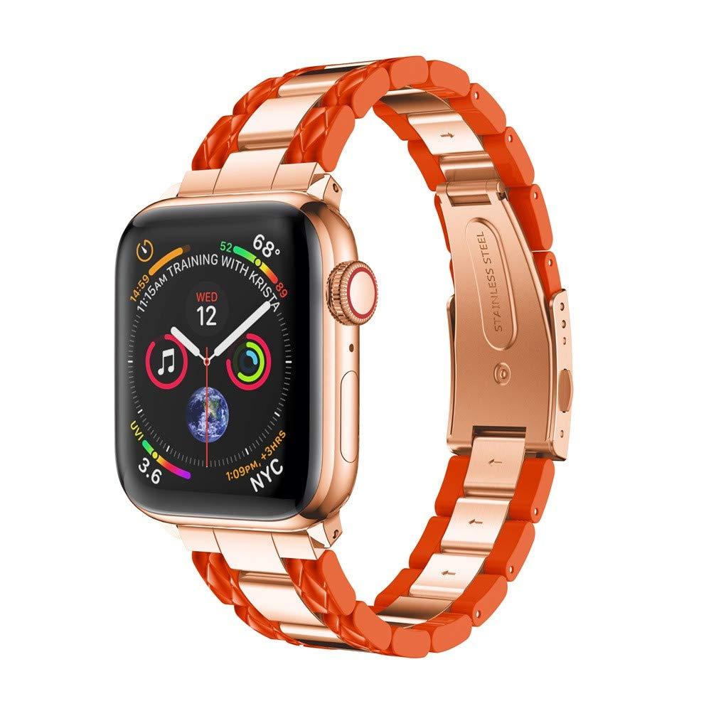 BabiQ Stylish Stainless Steel Strap Wrist Band Replacement Bracelet for Apple Watch 4 40mm (Orange)