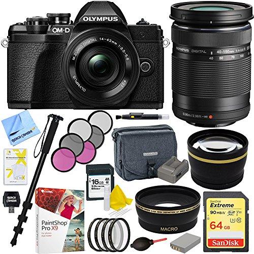 Olympus E-system Travel Bag (Olympus OM-D E-M10 Mark III Mirrorless Digital Camera with 14-42mm EZ Lens Kit (Black) V207072BU010 and M. Zuiko 40-150mm f.40-4.6R Lens Plus 64GB Acccessories Bundle)