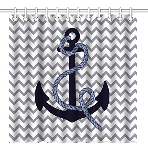 (Wknoon 72 x 72 Inch Shower Curtain, Navy Blue Anchor Grey Chevron Background, Waterproof Polyester Fabric Decorative Bathroom Bath Curtains)