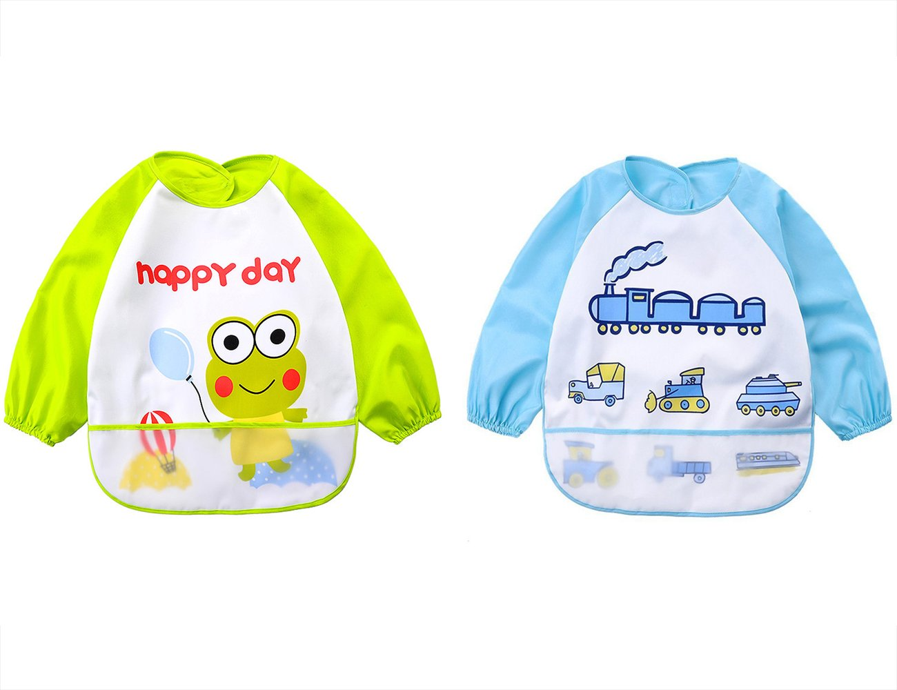 Baby bibs 2 Pack-Unisex Baby Sleeved Bibs Cartoon Waterproof Smock for 6 Months-3 Years Infant Toddler (Boy2) TRUEDAYS