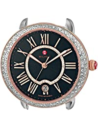 Michele Women's Serein 16 Diamond Rose Gold, Diamond Dial Watch Two-Tone/Black