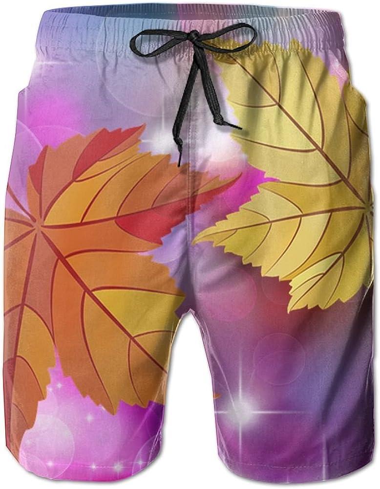 YOIGNG Boardshorts Maple Leaf Mens Quick Dry Swim Trunks Beach Shorts