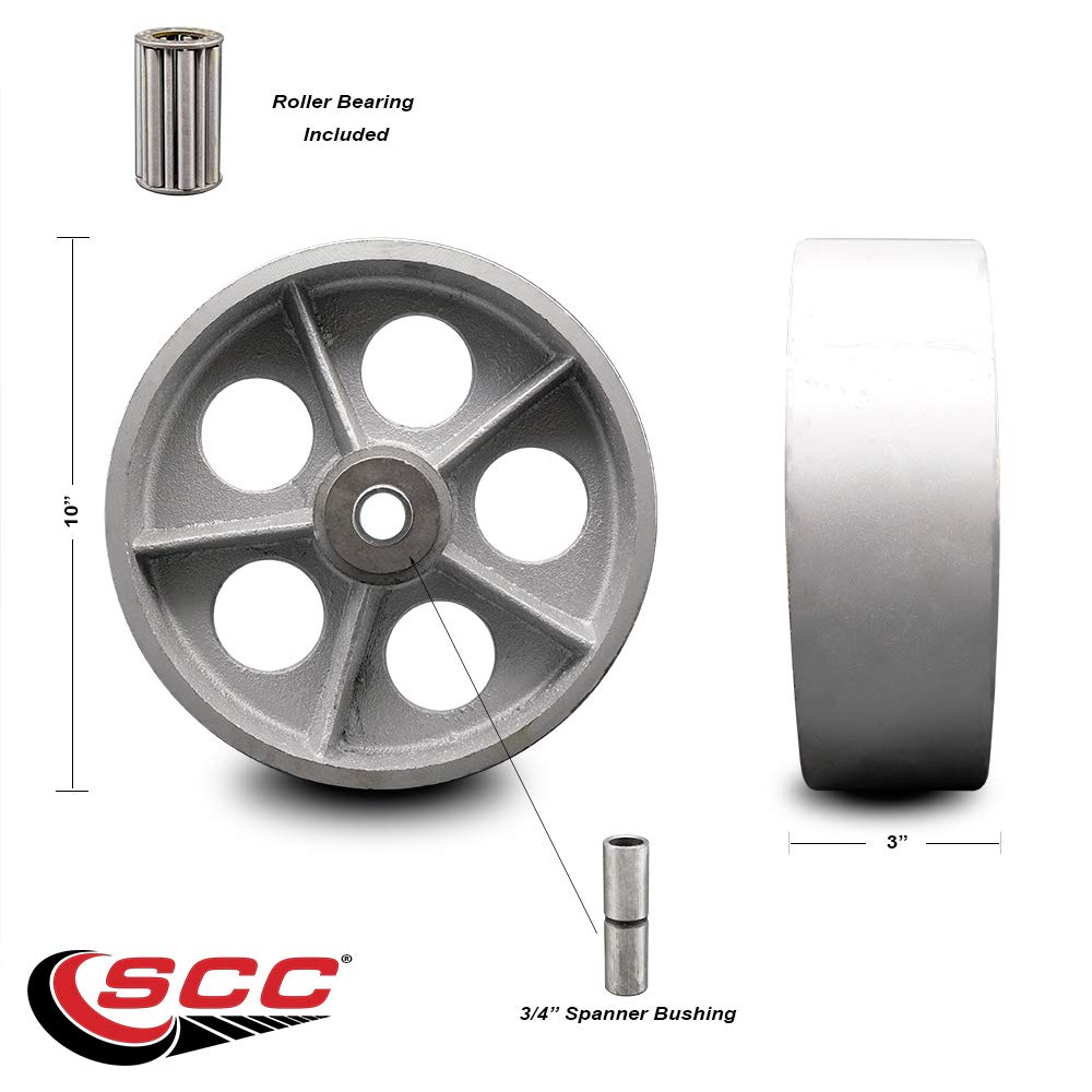 10'' x 3'' Semi Steel Cast Iron Wheel Only with Roller Bearing - 3/4'' Bore - 2500 lbs Capacity per Wheel - Service Caster Brand