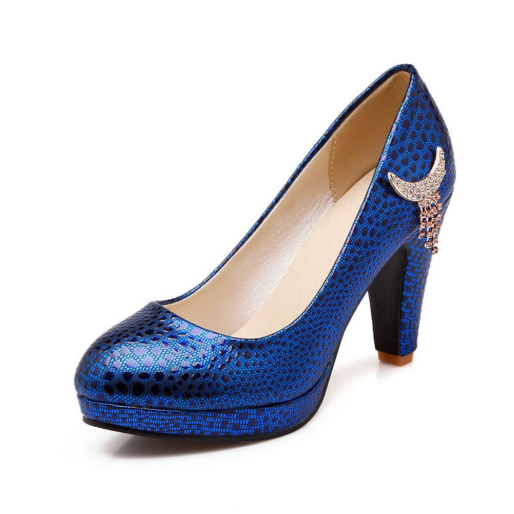 BalaMasa Womens Leopard Tassels Glass Diamond Blue Imitated Leather Pumps-Shoes - 4.5 B(M) US