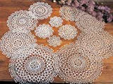 Handmade All-over Tatting Lace Crochet Doily. 100% Cotton Knitted. Ecru, 8 Inch Heart. Set of Two.