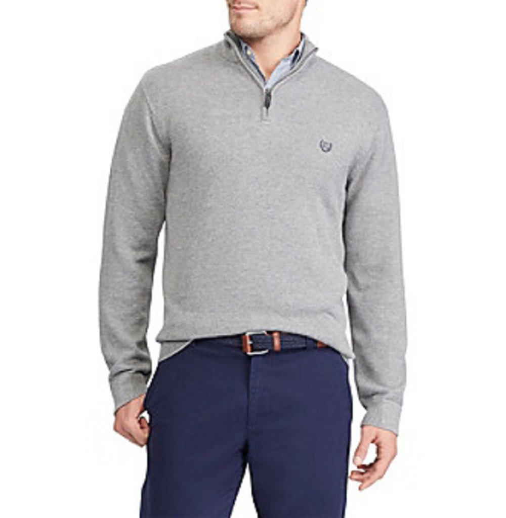 Chaps Mens Classic-Fit Cool Max Stretch Quarter-Zip Steel Heat Gray Sweater Medium