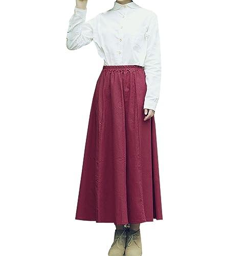 Plisada Faldas De Algodón Femenino Retro