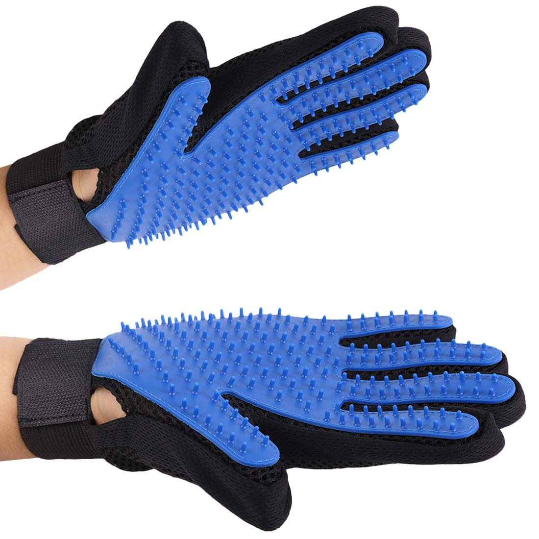 Pet Grooming Glove, POPULUS Gentle Deshedding Brush Glove with Lanyard and Pet Waste Bag, Comb Bath Massage Hair Remover Tool for Dogs Cats Rabbits Horses with Long and Short Hair, One Pair