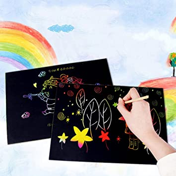 Healifty 33pcs Scratch Art Painting Papers Sketch Art Papel Magico