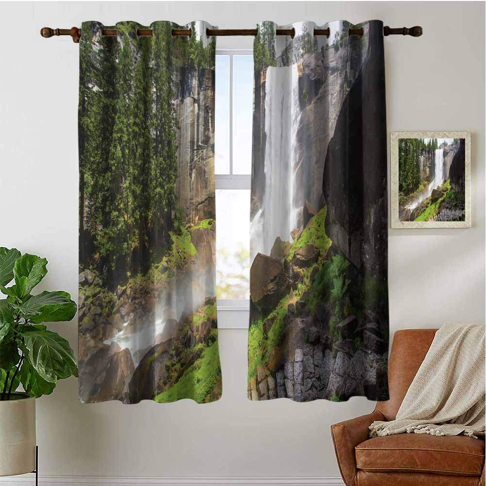 PRUNUSHOME Yosemite National Park Curtains for Kitchen Window, Insulated Kitchen Window Treatments Decor Thermal Insulated Window Drapes for Light Blocking(Set of 2 Panels,42 by 45 Inch) by PRUNUSHOME