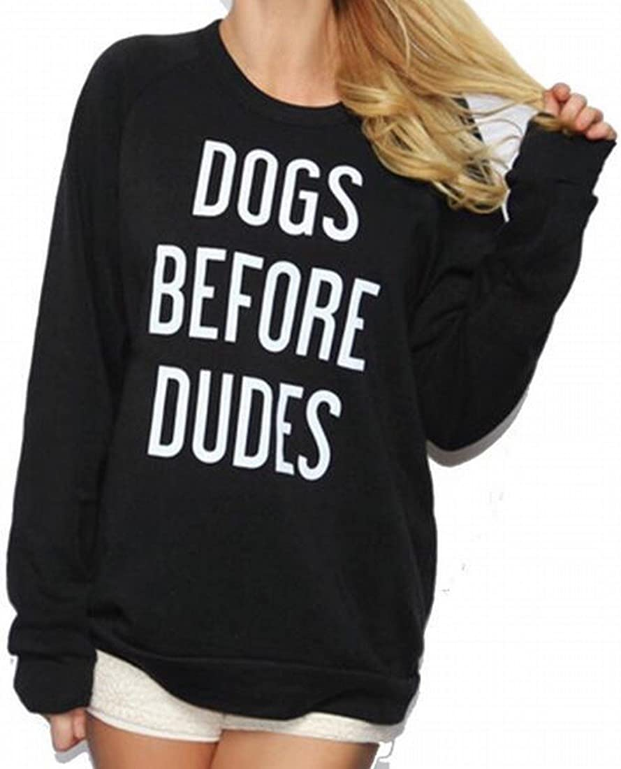 Mopatiper Women Long Sleeve Dogs Before Dudes Print Tops Blouse Gift for Dogs Lovers