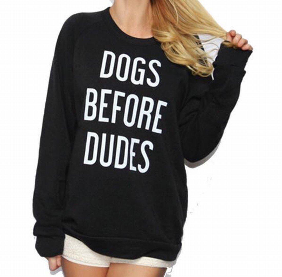 Mopatiper Women Long Sleeve Dogs Before Dudes Letter Print Sweatshirt Tops Blouse- Gift for Dogs Lovers Black L