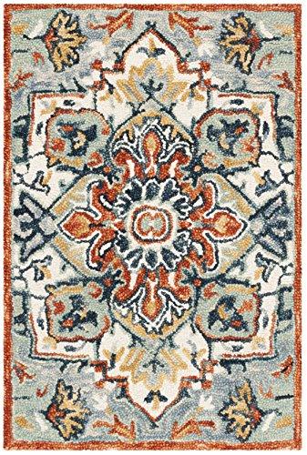 Safavieh APN312A-2 Aspen Collection Premium Wool Area Rug, 2' x 3', Blue/Rust